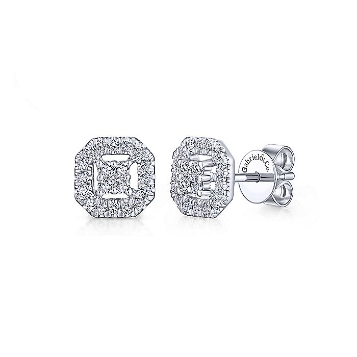 14K White Gold Round Diamond Octagonal Halo Stud Earrings