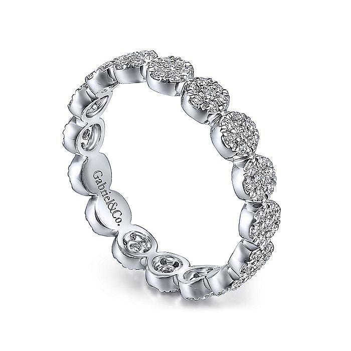14K White Gold Round Diamond Pavé Cluster Eternity Ring