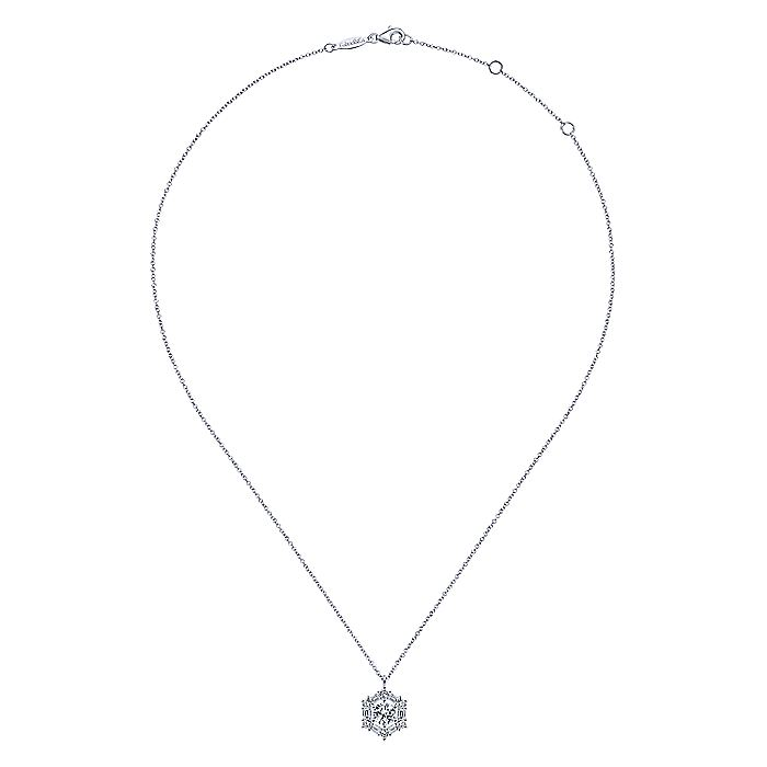 14K White Gold Round Diamond Pendant Necklace with Baguette and Round Hexagonal Halo