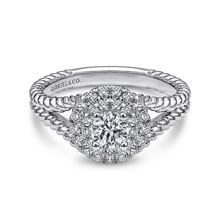 14K White Gold Round Double Halo Complete Diamond Engagement Ring