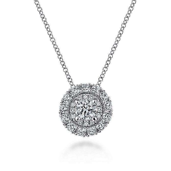 14K White Gold Round Double Halo Diamond Pendant Necklace