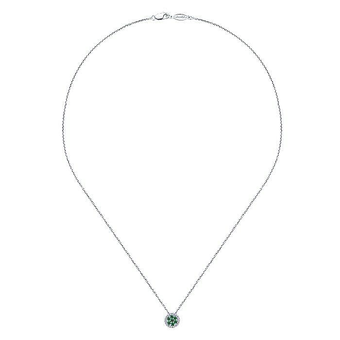 14K White Gold Round Emerald Cluster Diamond Pendant Necklace