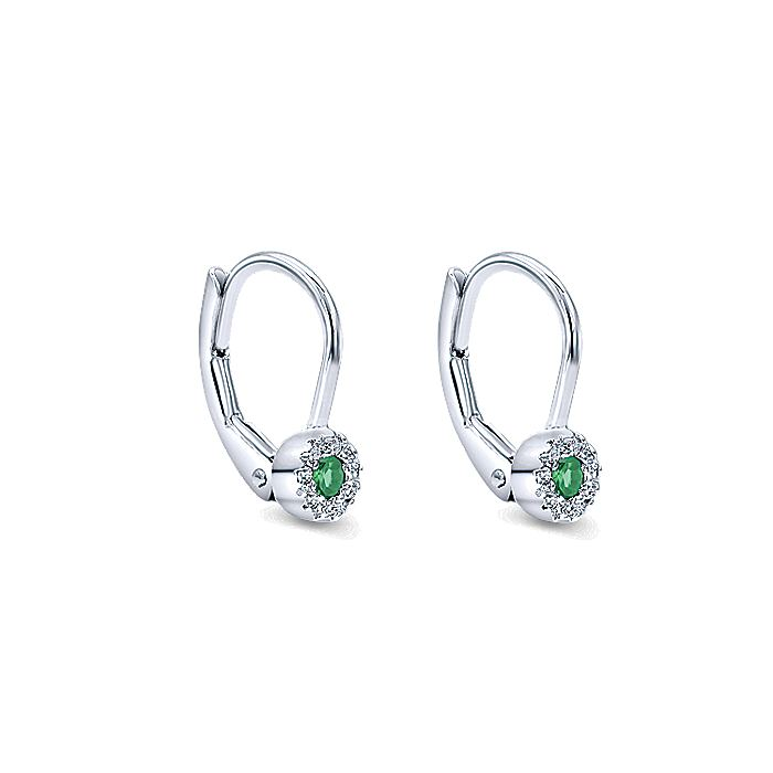 14K White Gold Round Emerald and Diamond Halo Drop Earrings