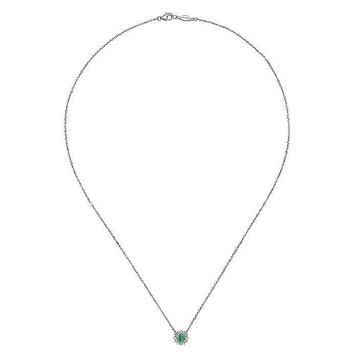 14K White Gold Round Emerald and Diamond Halo Pendant Necklace