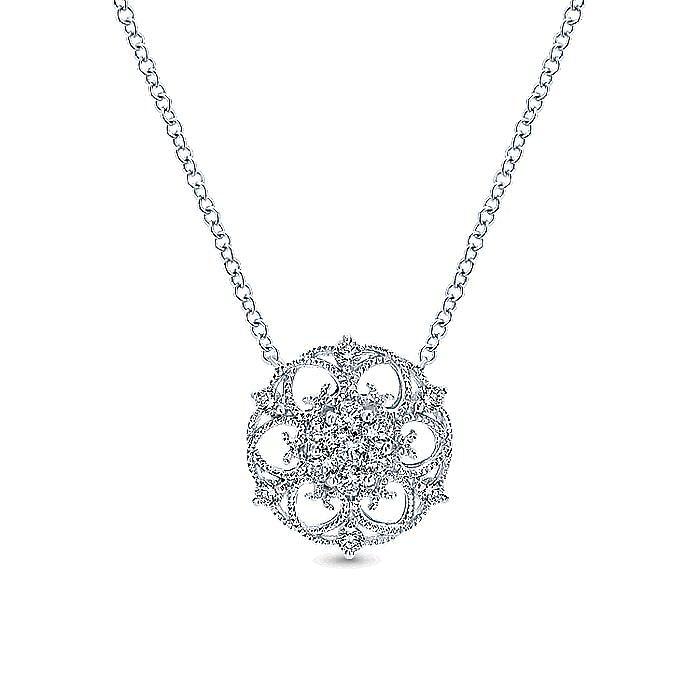 14K White Gold Round Filigree Diamond Pendant Necklace