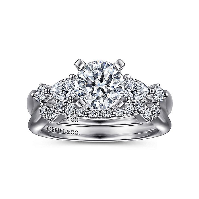 14K White Gold Round Five Stone Diamond Engagement Ring