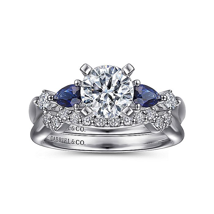 14K White Gold Round Five Stone Sapphire and Diamond Engagement Ring