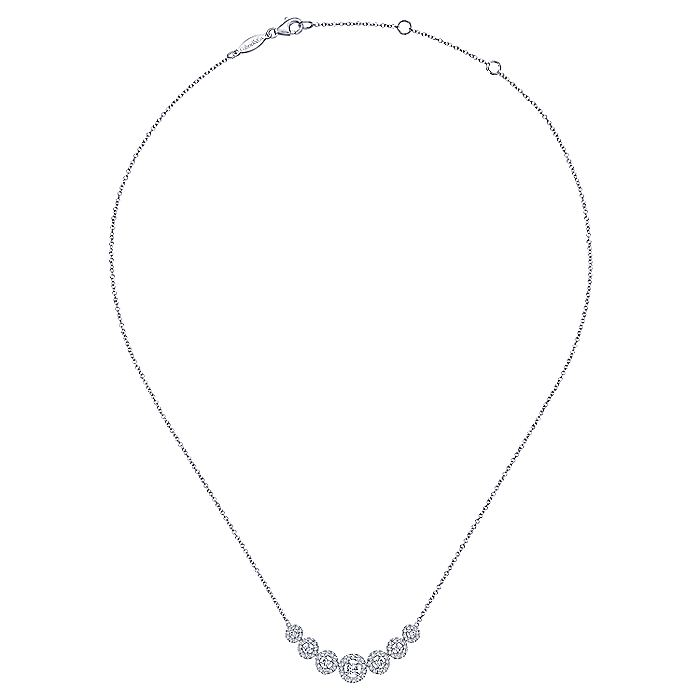 14K White Gold Round Floating Diamond Curved Bar Necklace