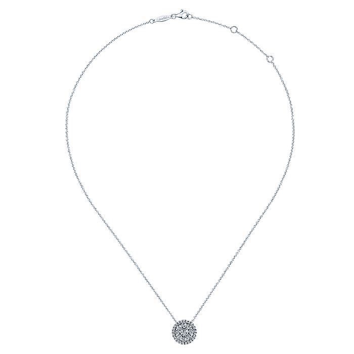 14K White Gold Round Floral Diamond Pendant Necklace
