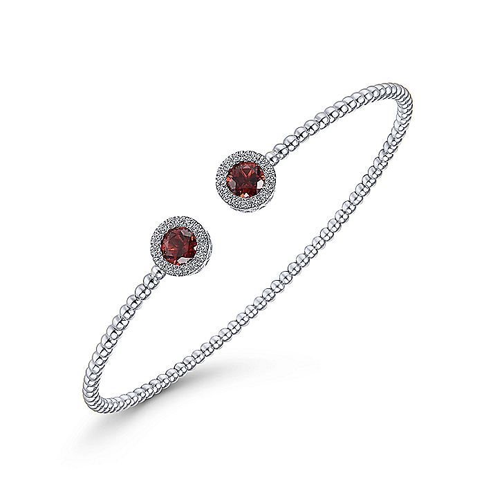 14K White Gold Round Garnet and Diamond Halo Bujukan Bangle