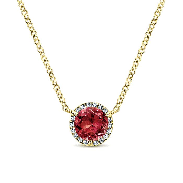 14K White Gold Round Garnet and Diamond Halo Pendant Necklace