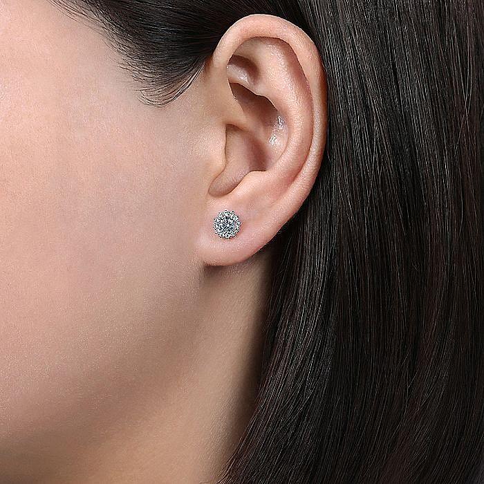 14K White Gold Round Halo Aquamarine and Diamond Stud Earrings