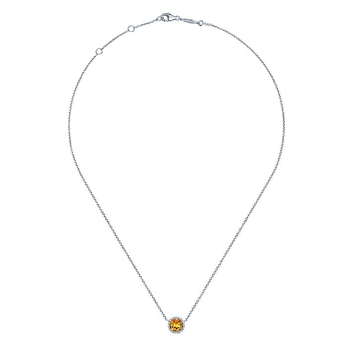 14K White Gold Round Halo Citrine and Diamond Pendant Necklace