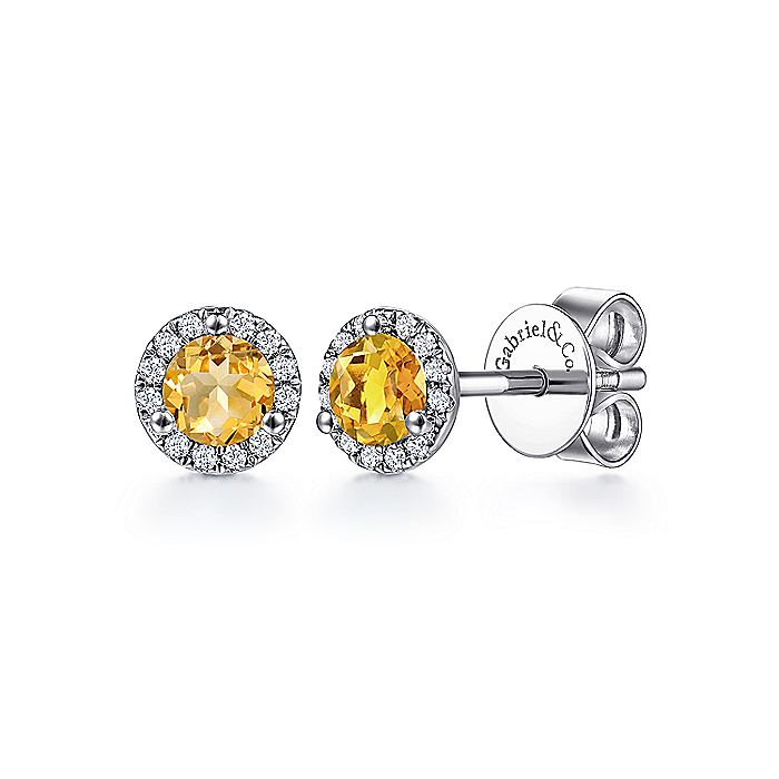 14K White Gold Round Halo Citrine and Diamond Stud Earrings