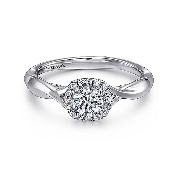 14K White Gold Round Halo Complete Diamond Engagement Ring