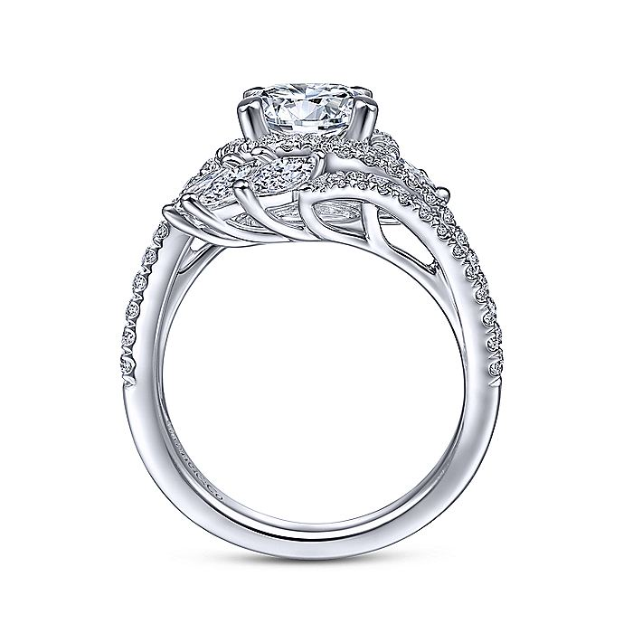 14K White Gold Round Halo Diamond Bypass Engagement Ring