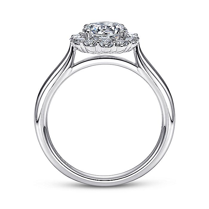 14K White Gold Round Halo Diamond Engagement Ring