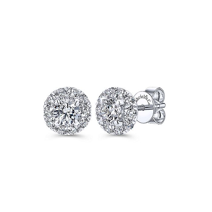 14K White Gold Round Halo Diamond Stud Earrings