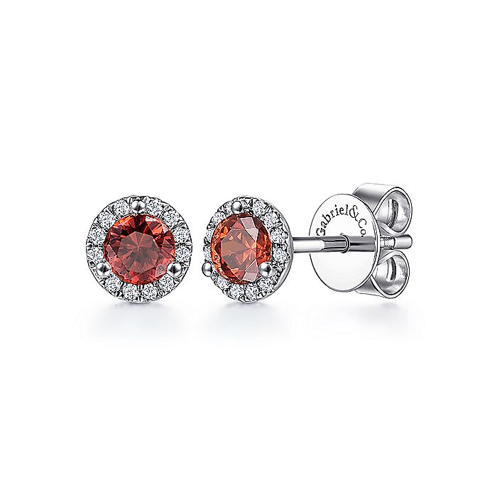 14K White Gold Round Halo Garnet and Diamond Stud Earrings