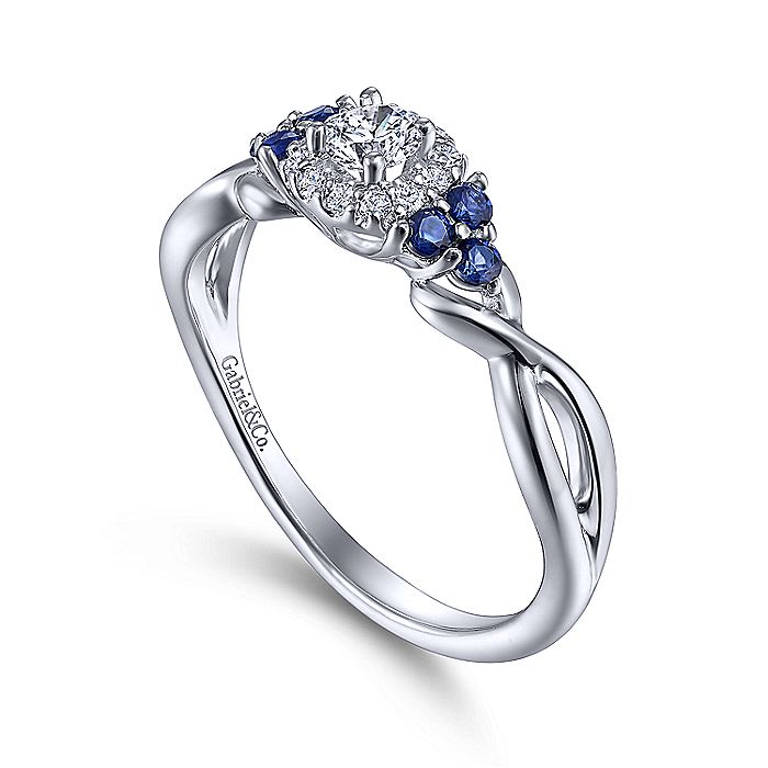 14K White Gold Round Halo Sapphire and Diamond Complete Engagement Ring