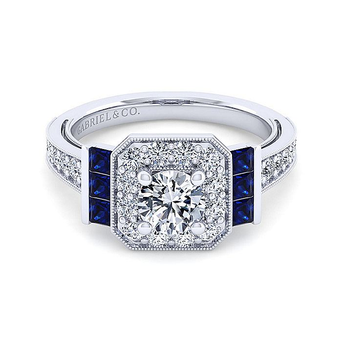 14K White Gold Round Halo Sapphire and Diamond Engagement Ring