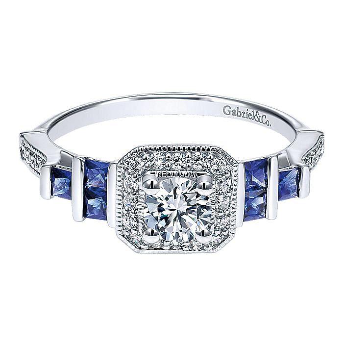 14K White Gold Round Halo Sapphire and Diamond Engagement Ring