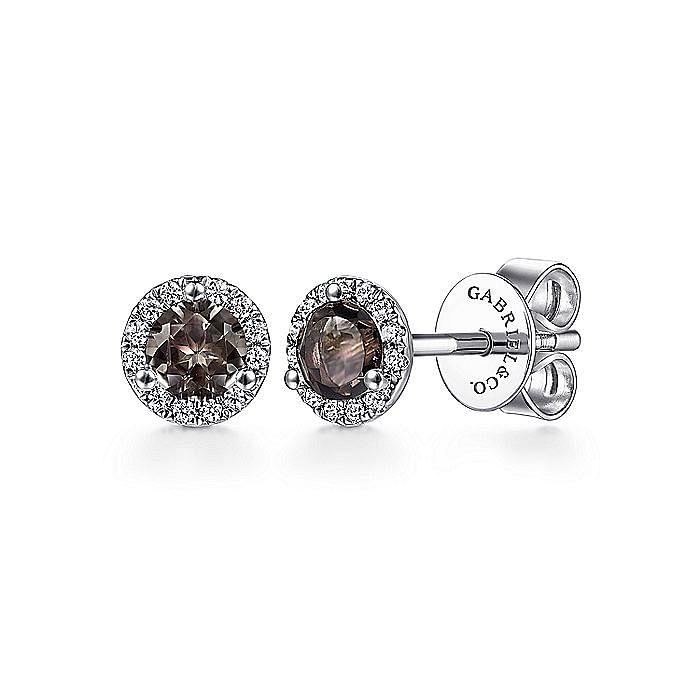 14K White Gold Round Halo Smoky Quartz and Diamond Stud Earrings