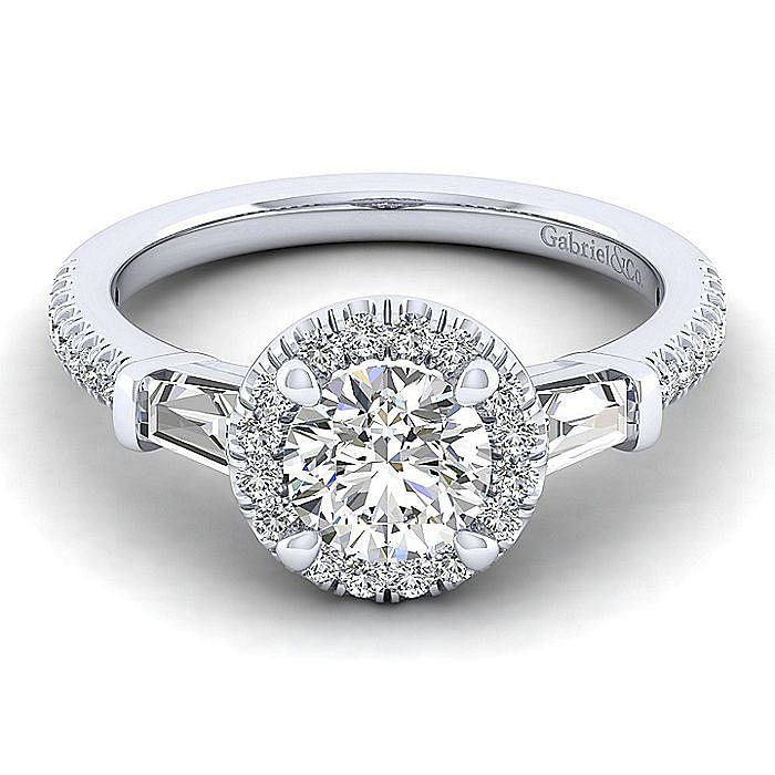 14K White Gold Round Halo Three Stone Halo Diamond Engagement Ring