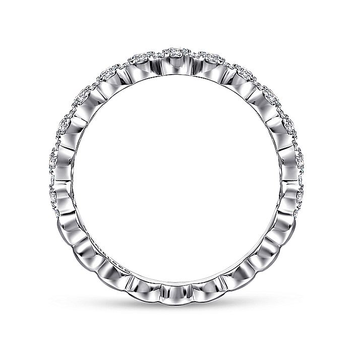 14K White Gold Round Pavé Diamond Band