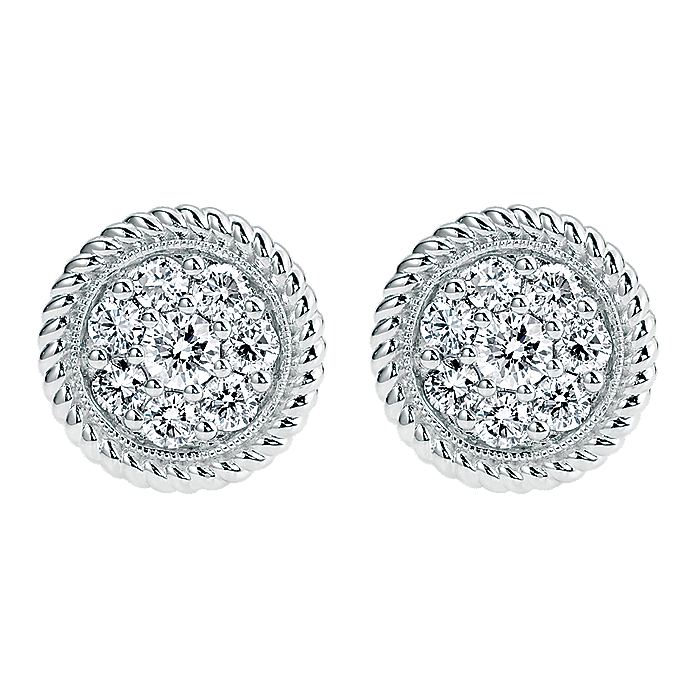 14K White Gold Round Pavé Diamond Stud Earrings with Twisted Rope Frame