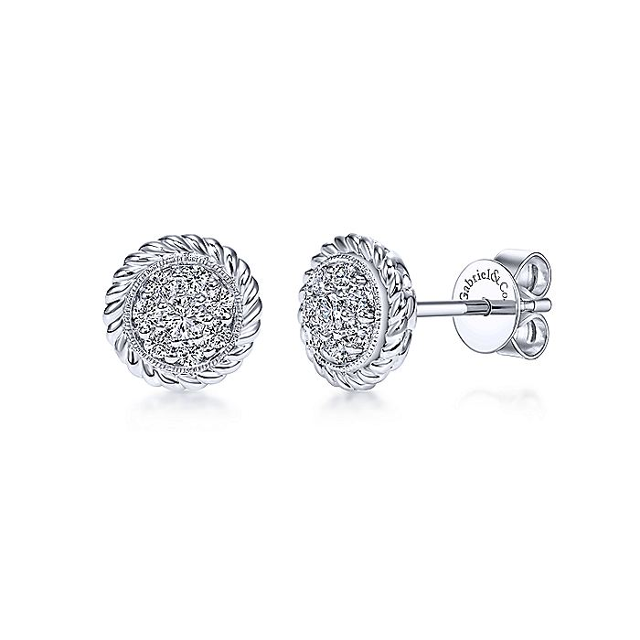 14K White Gold Round Pavé Diamond with Twisted Rope Frame Stud Earrings