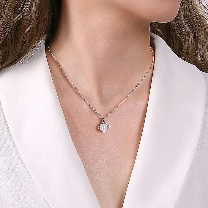 14K White Gold Round Pearl Pendant Necklace with Diamond Accents