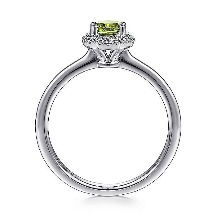 14K White Gold Round Peridot and Hexagon Diamond Halo Ring