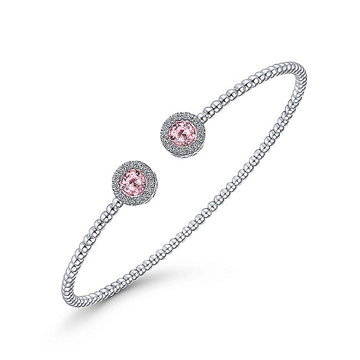 14K White Gold Round Pink Zircon and Diamond Halo Bujukan Bangle