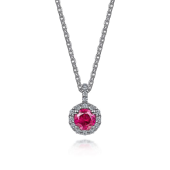 14K White Gold Round Ruby and Diamond Halo Pendant Necklace