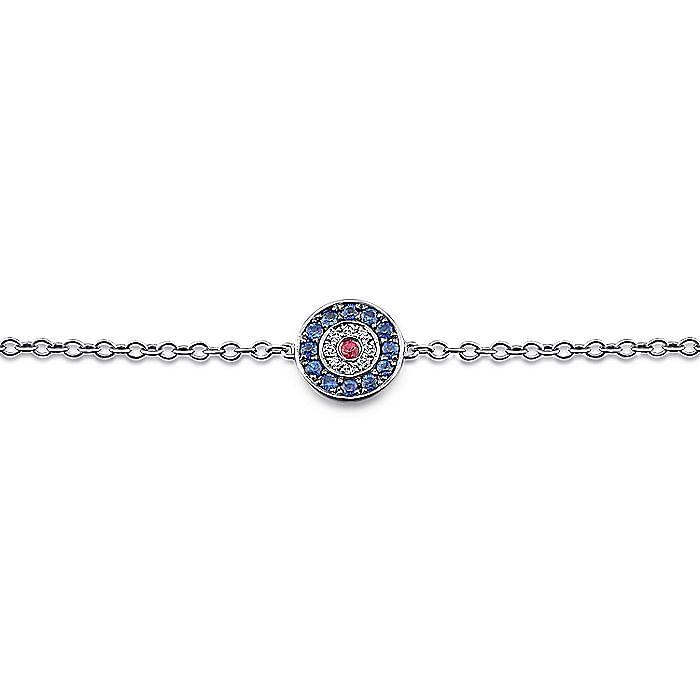 14K White Gold Round Sapphire, Diamond and Ruby Evil Eye Bracelet