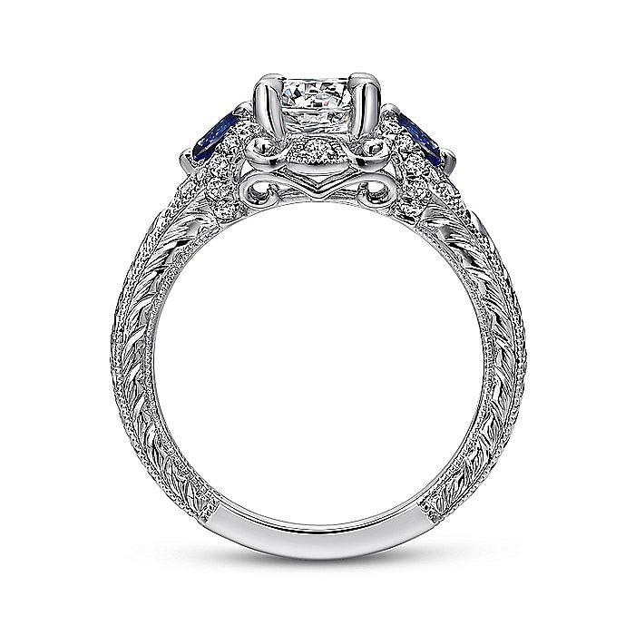 14K White Gold Round Sapphire and Diamond Engagement Ring