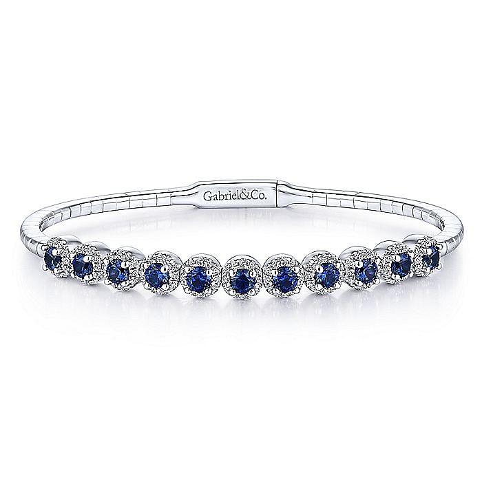14K White Gold Round Sapphire and Diamond Halo Bangle