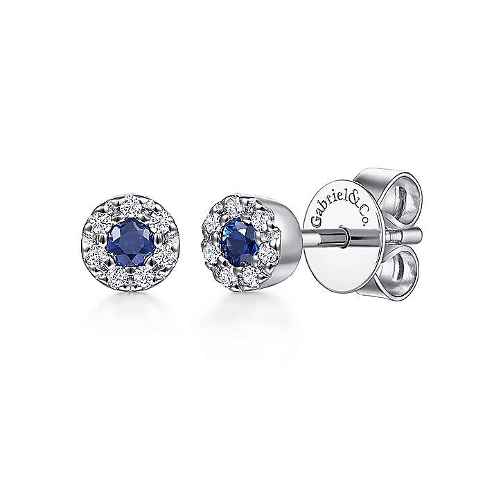 14K White Gold Round Sapphire and Diamond Halo Stud Earrings