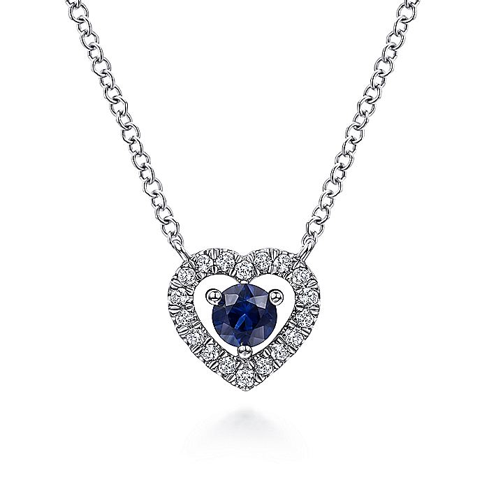 14K White Gold Round Sapphire and Diamond Heart Pendant Necklace