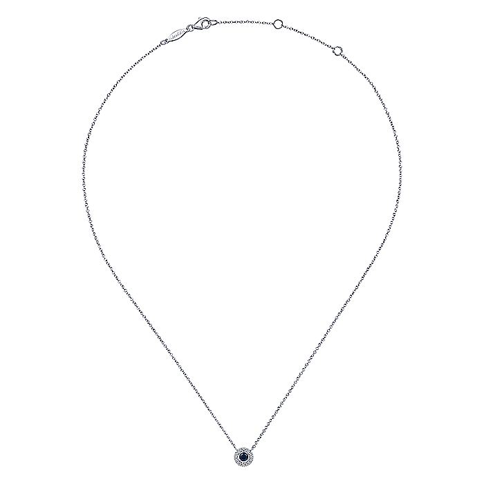 14K White Gold Round Sapphire and Pavé Diamond Halo Necklace