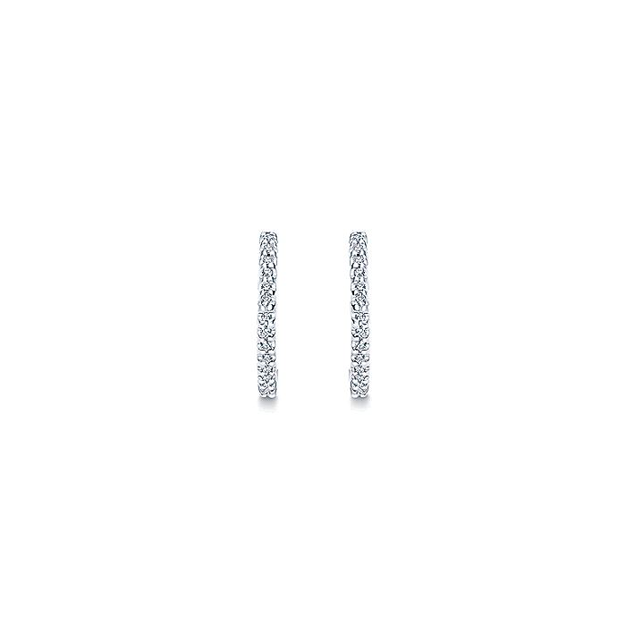 14K White Gold Round Scalloped 15mm Diamond Huggie Earrings