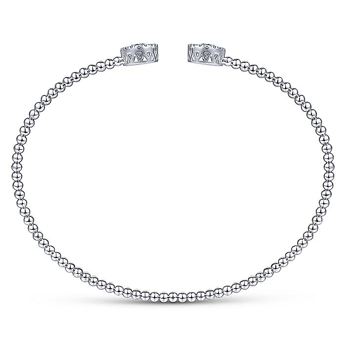 14K White Gold Round Sky Blue Topaz and Diamond Halo Bujukan Bangle