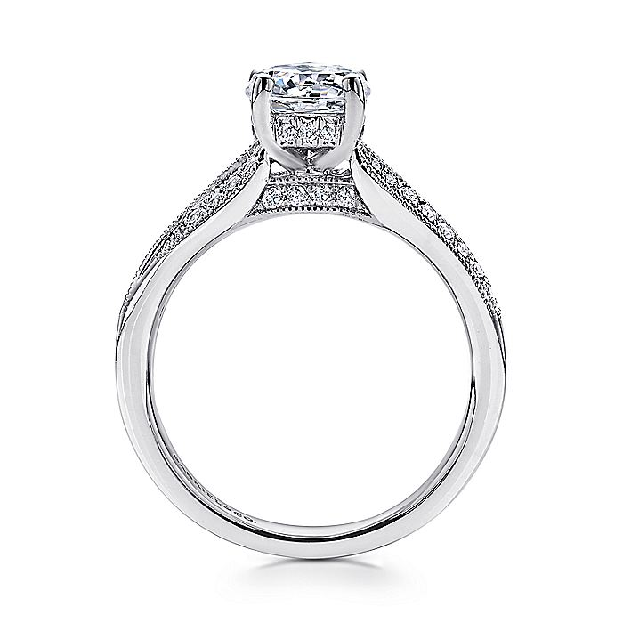 14K White Gold Round Split Shank Diamond Engagement Ring