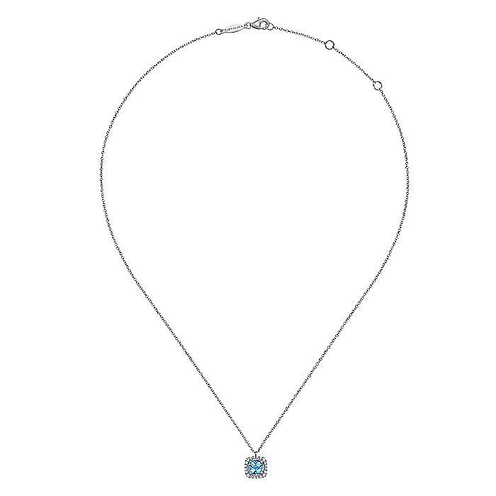 14K White Gold Round Swiss Blue Topaz Diamond Halo Fashion Necklace