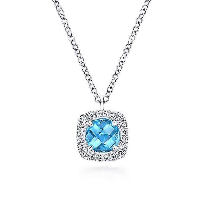 14K White Gold Round Swiss Blue Topaz Diamond Halo Pendant Necklace