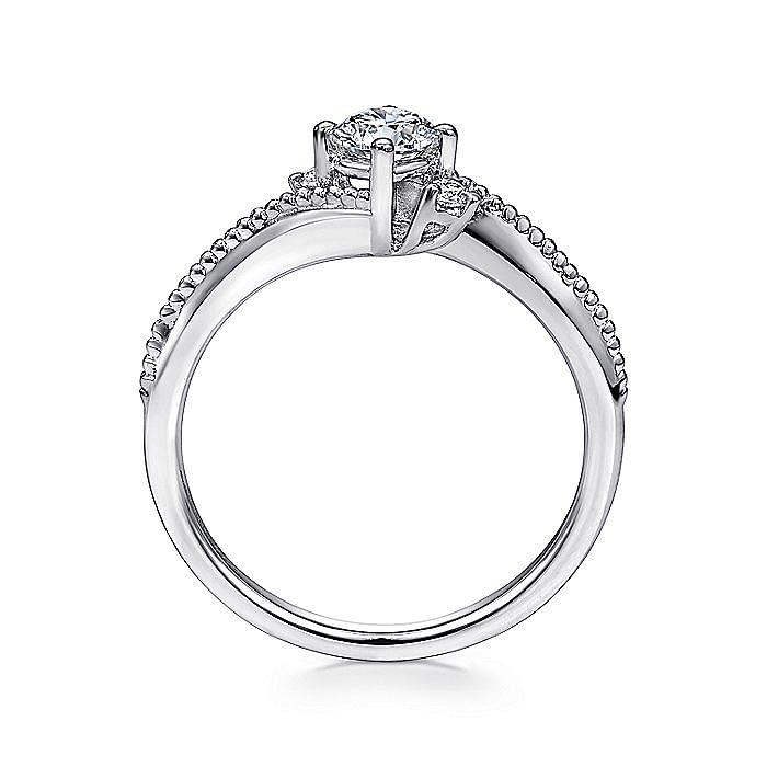 14K White Gold Round Three Stone Complete Diamond Engagement Ring