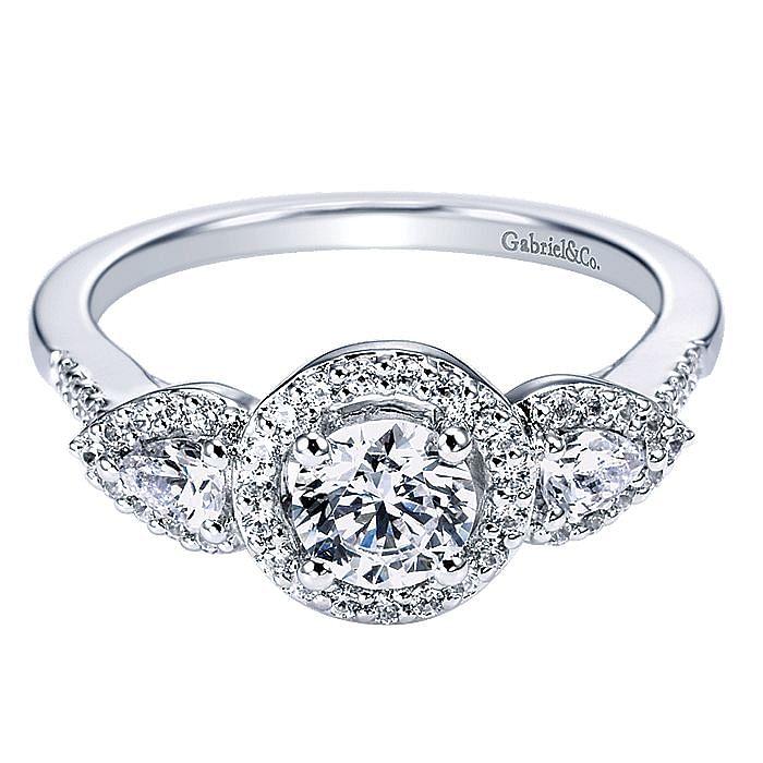 14K White Gold Round Three Stone Halo Diamond Engagement Ring