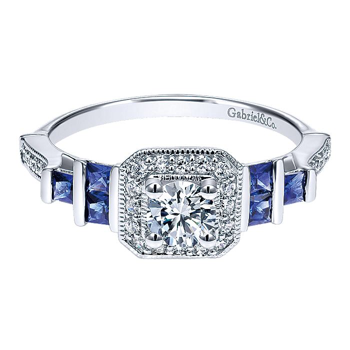 14K White Gold Round Three Stone Halo Sapphire and Diamond Complete Engagement Ring