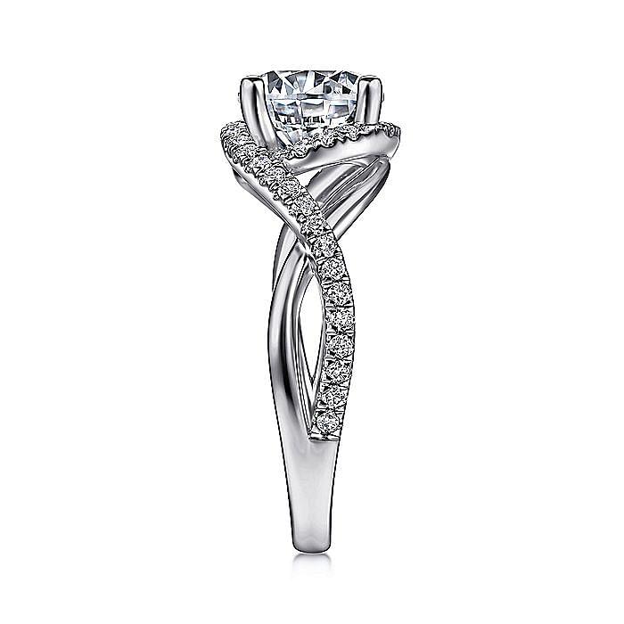 14K White Gold Round Twisted Diamond Engagement Ring